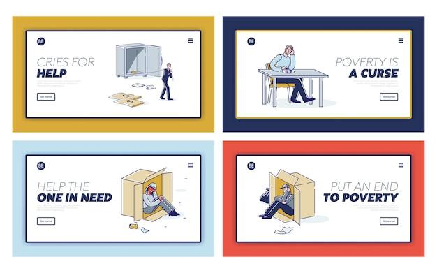 Set van bestemmingspagina's met arme mensen met een probleem of faillissement, bedelaars en daklozen die hun baan verliezen Premium Vector