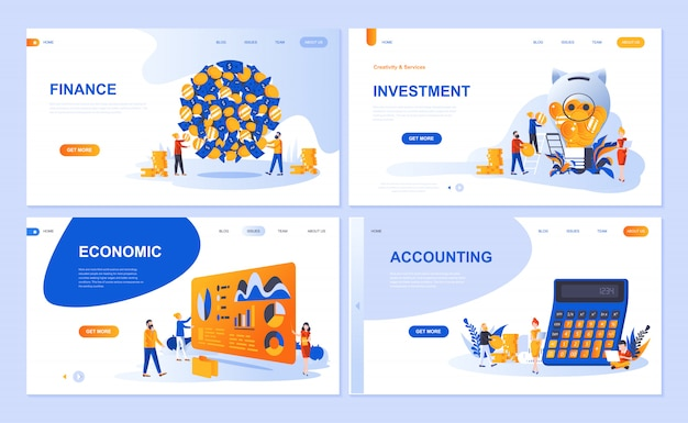 Set van bestemmingspagina sjabloon voor financiën, investeringen, boekhouding, economische groei Premium Vector