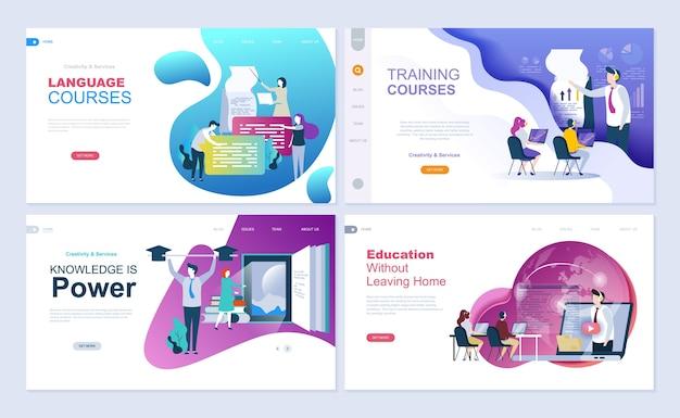 Set van bestemmingspagina-sjabloon voor onderwijs, consulting, training, taalcursussen. Premium Vector