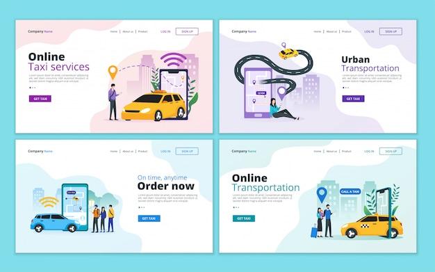 Set van bestemmingspagina-sjabloon voor online taxi, autodeeldienst en mobiel stadsvervoer Premium Vector