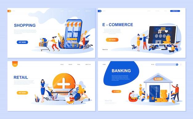 Set van bestemmingspagina-sjabloon voor online winkelen, e-commerce, detailhandel, internetbankieren Premium Vector