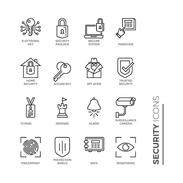 Set van beveiligingsgerelateerde lijnpictogrammen Premium Vector