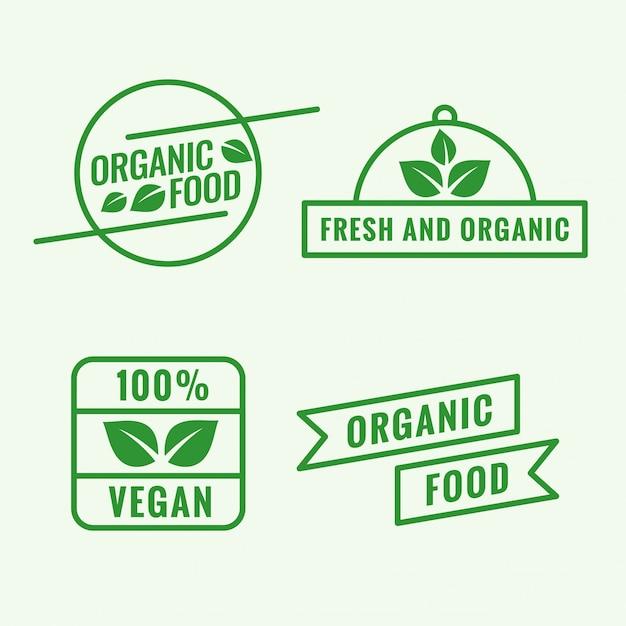 Set van biologisch voedsel-logo Gratis Vector