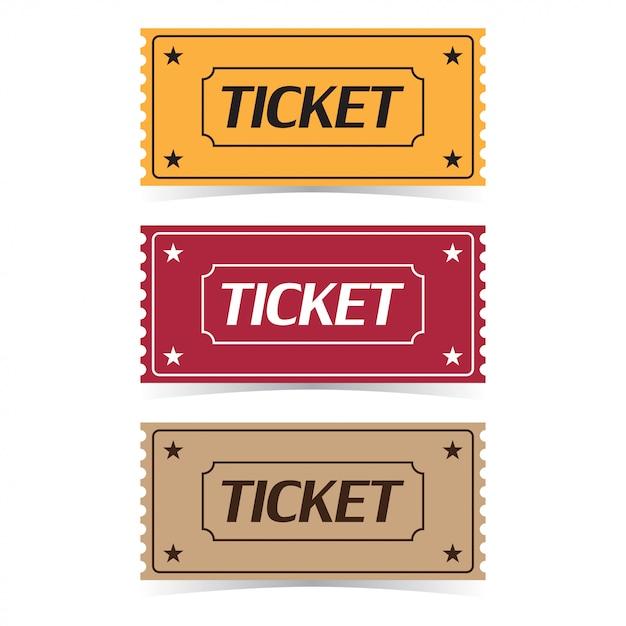 Set van bioscoopkaartje met schaduwen. platte cartoon stijl Premium Vector