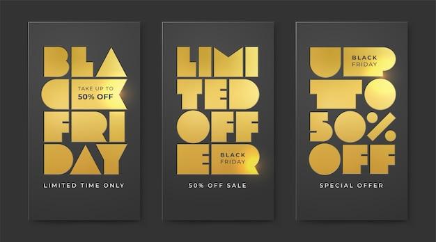 Set van black friday sale met boekdruk goudfolie. beperkte aanbieding en kortingen tot wel vijftig procent. Premium Vector