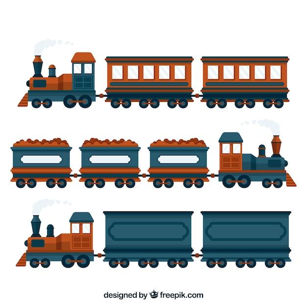 Set van blauw en bruin treinen Gratis Vector