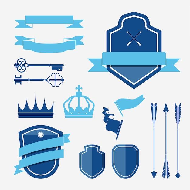 Set van blauw label ornament vectoren Gratis Vector