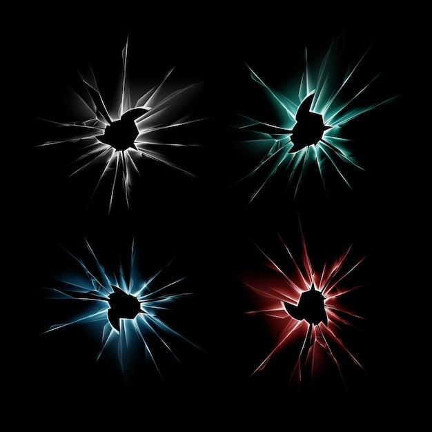 Set van blauw rood groen gebroken verbrijzelde crack glazen venster crack met scherpe randen close-up op donkere zwarte achtergrond Premium Vector