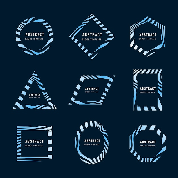 Set van blauwe abstracte badge sjabloon vectoren Gratis Vector