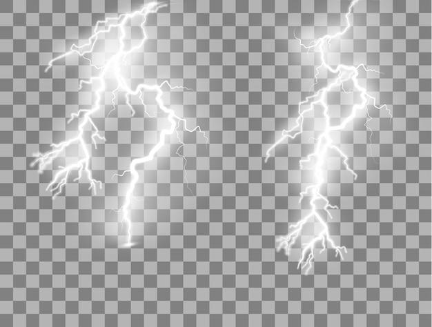 Set van bliksemschichten magische en heldere lichteffecten. Premium Vector