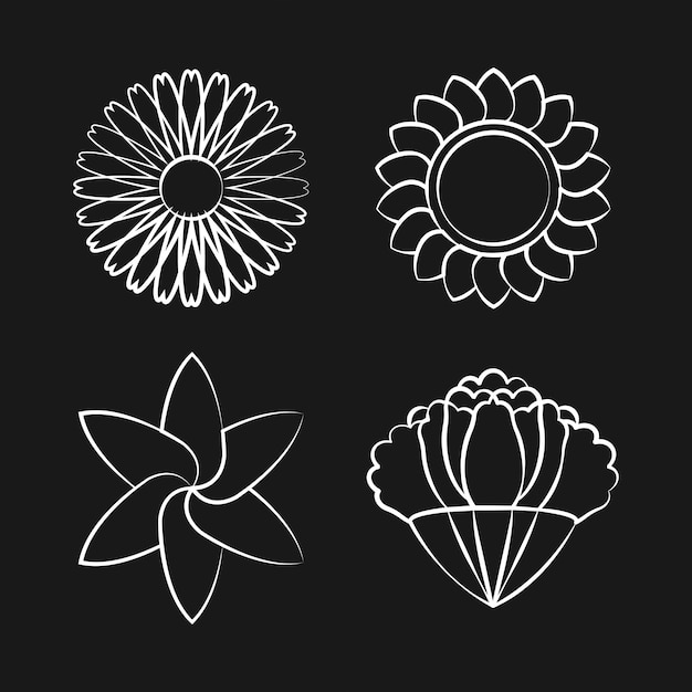 Set van bloeiende bloem tekening ontwerp vector Gratis Vector