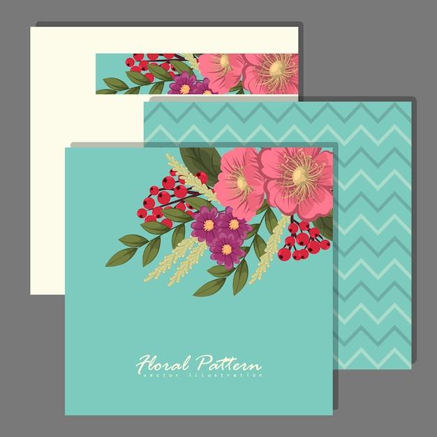 Set van bloemen frame met kleurrijke bloem. Gratis Vector