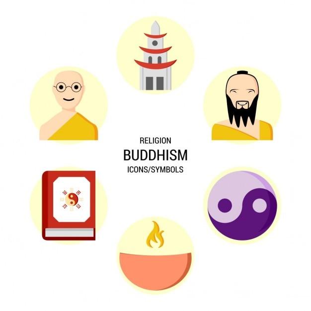Set van boeddhisme iconen Gratis Vector