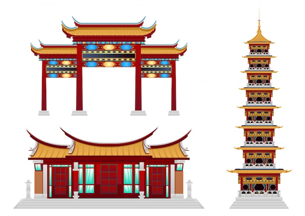 Set van boeddhistisch klooster. Premium Vector