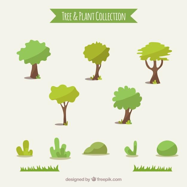 Set van bomen en struiken Premium Vector