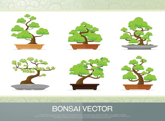 Set van bonsai plant in de pot illustratie vector vlakke stijl Premium Vector