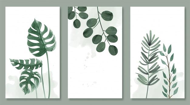Set van botanische en wilde bladeren in aquarel. ontwerp voor het ophangen van een frame, poster en kaart. Premium Vector