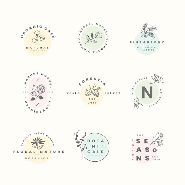 Set van botanische logo ontwerp vectoren Gratis Vector