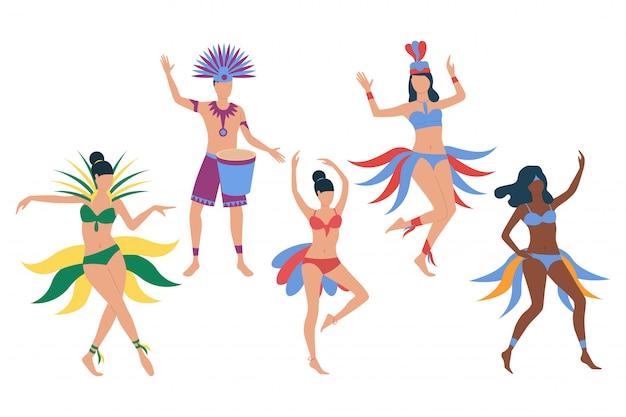 Set van braziliaanse carnaval-dansers Gratis Vector