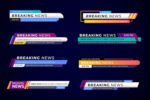 Set van breaking news banners Gratis Vector