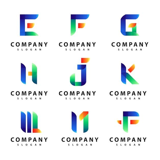 Set van brief logo ontwerp Premium Vector