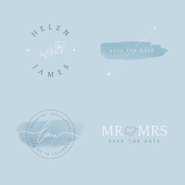 Set van bruiloft uitnodiging badge ontwerp vector Gratis Vector