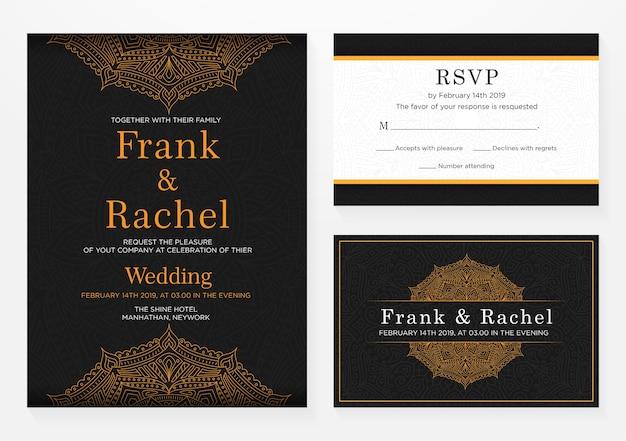 Set van bruiloft uitnodiging sjabloonontwerp met elegante stijl Premium Vector