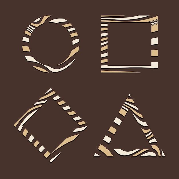 Set van bruin abstracte badge sjabloon vectoren Gratis Vector