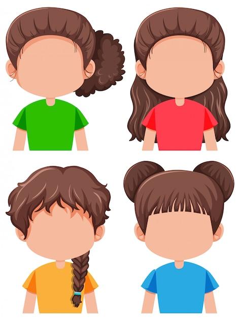 Set van brunette vrouwelijke personage Gratis Vector