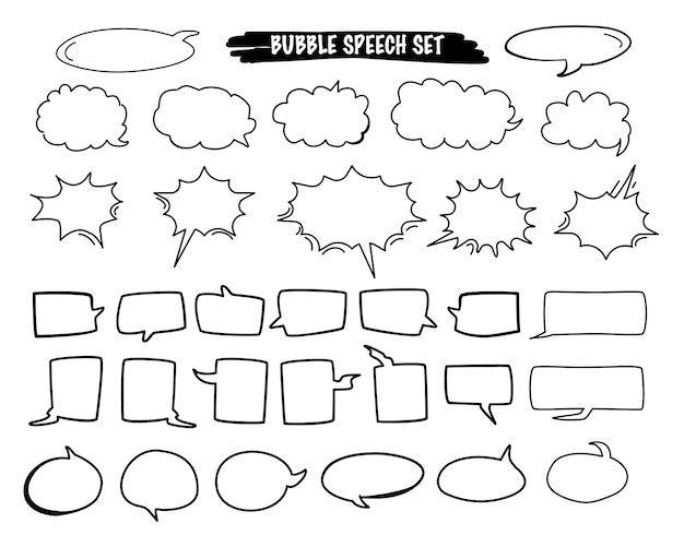 Set van bubble speech cartoon vector in de hand getekende stijl Premium Vector