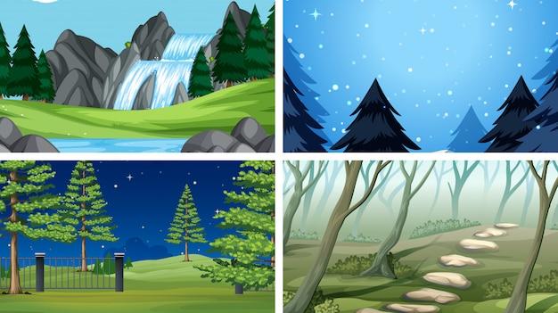 Set van buiten natuur scènes lege lege sjablonen Gratis Vector