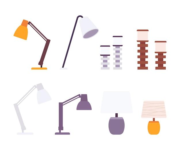 Set van bureaulampen Premium Vector