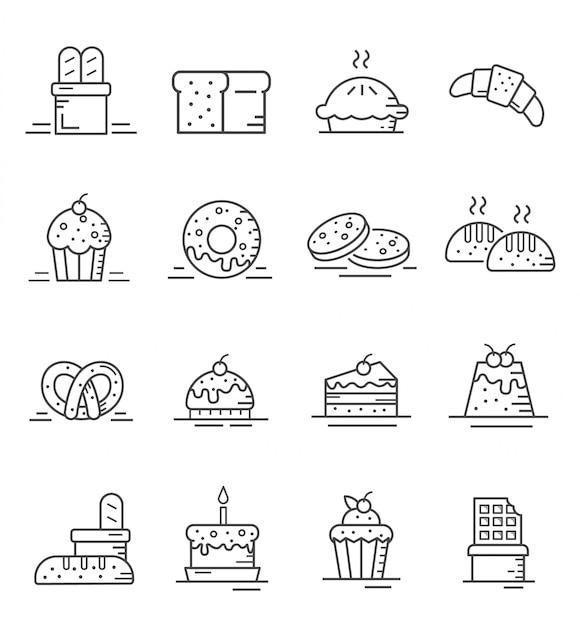 Set van cake en bakkerij pictogrammen met kaderstijl Premium Vector