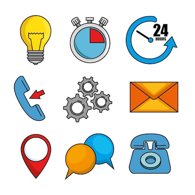 Set van call center ondersteuning pictogram Premium Vector