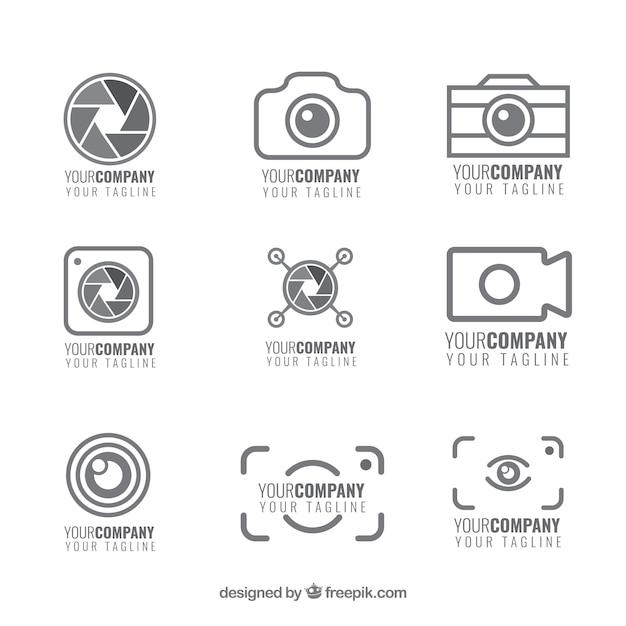Set van camera logo's Premium Vector