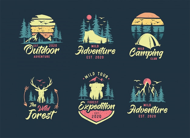 Set van camping en outdoor-logo Premium Vector