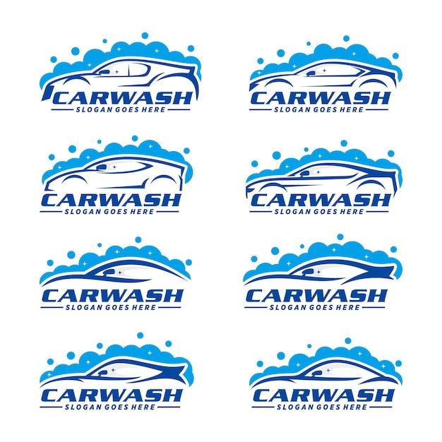 Set van car wash logo sjabloon Premium Vector