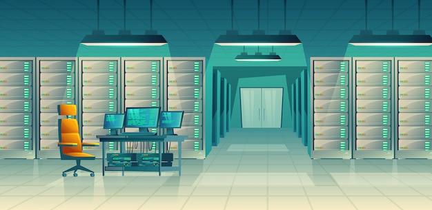 Set van cartoon controlekamer met serverrekken, tafel. database, datacenter voor hosting Gratis Vector