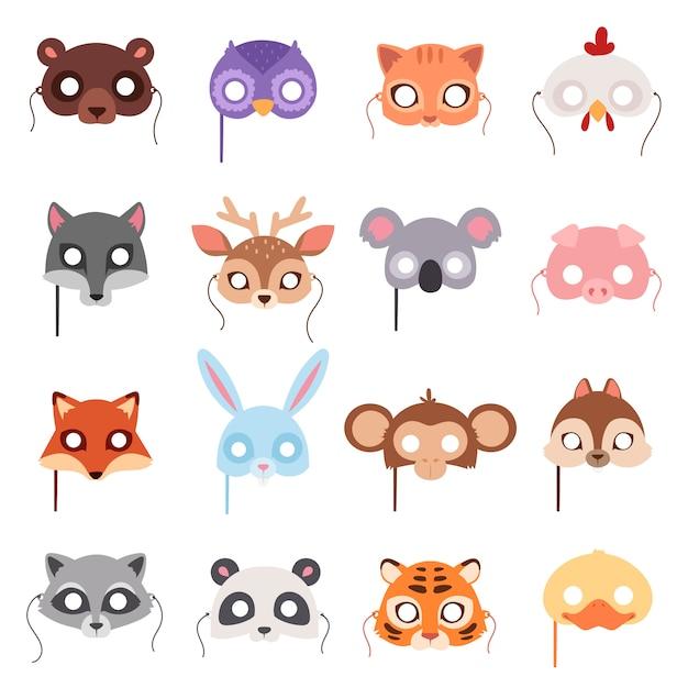 Set van cartoon dieren feestmaskers. Premium Vector