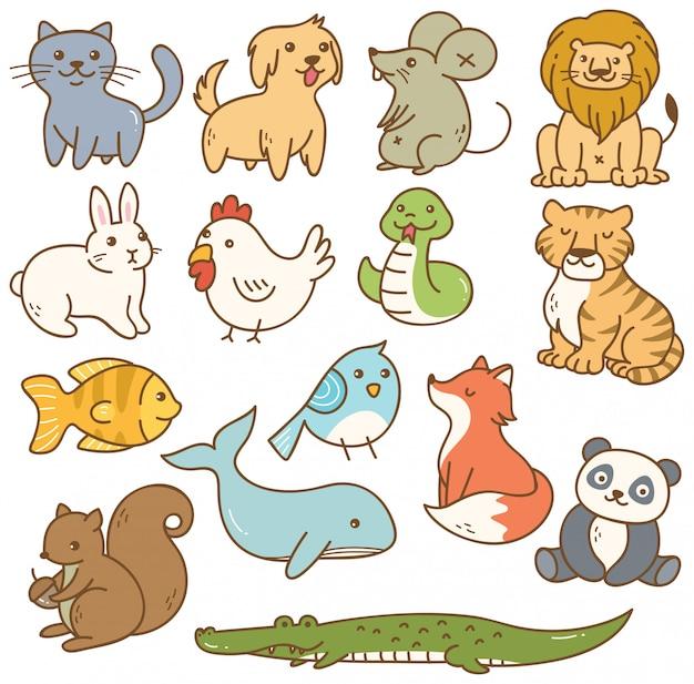 Set van cartoon dieren Premium Vector