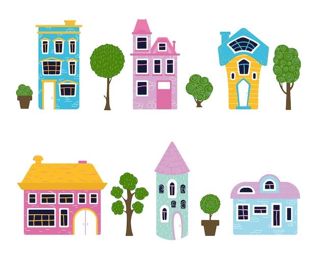 Set van cartoon huizen en bomen, zoete huis Premium Vector