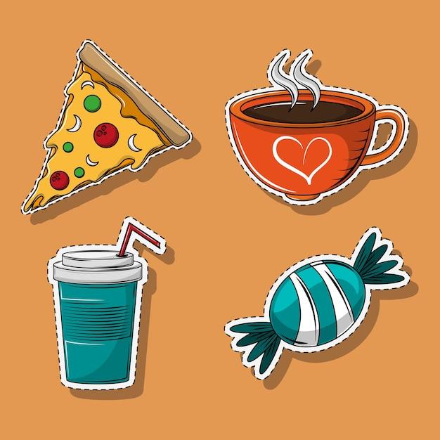 Set van cartoons voor eten en drinken Premium Vector