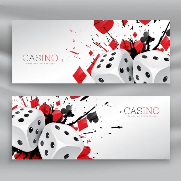 Set van casino banners met dobbelstenen en abstract inkt splash Gratis Vector