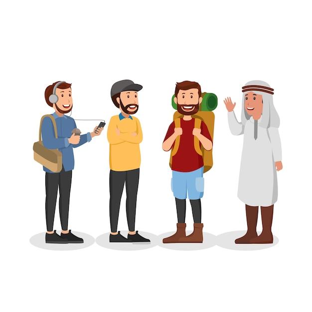 Set van casual arabische man illustratie cartoon Premium Vector