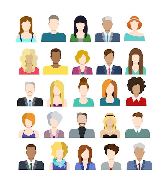 Set van casual stijlvolle modieuze mensen iconen in vlakke stijl Gratis Vector