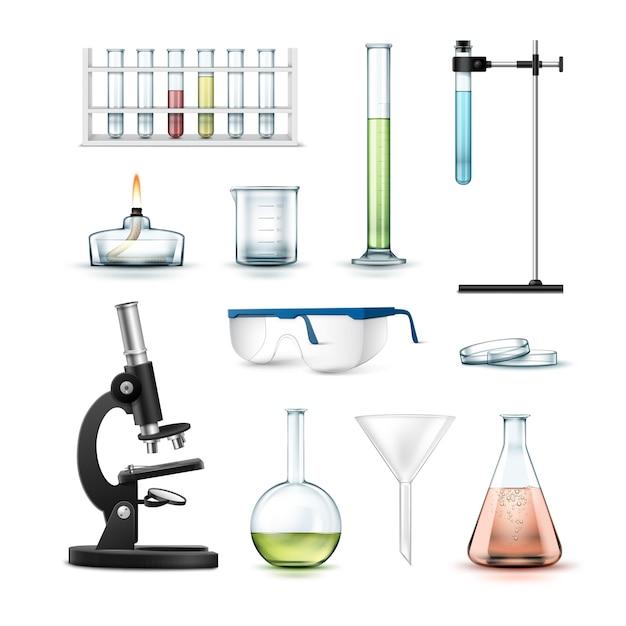 Set van chemische laboratoriumapparatuur reageerbuizen, kolven, beker, glazen, petrischaal, alcoholbrander, optische microscoop en trechter Gratis Vector