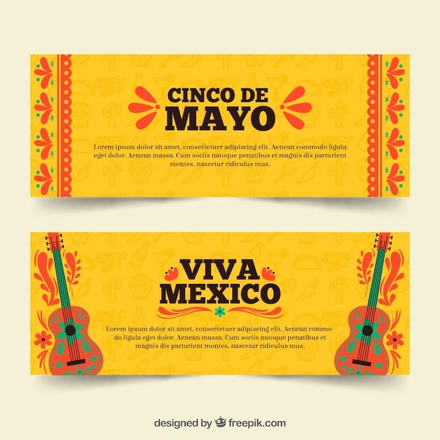 Set van cinco de mayo banners met traditionele elementen Gratis Vector