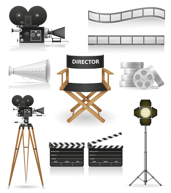 Set van cinematografie bioscoop en film vectorillustratie Premium Vector