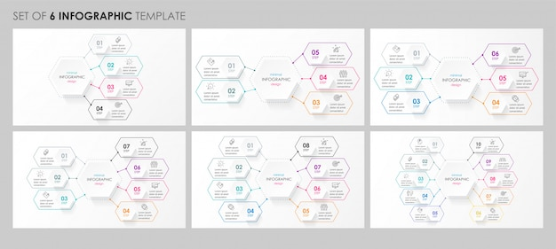 Set van circulaire infographic design met pictogrammen en 4, 5, 6, 8 opties of stappen. bedrijfsconcept. Premium Vector