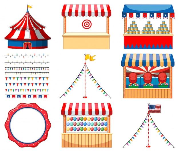 Set van circus spellen en andere decoraties Gratis Vector